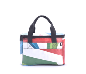 Insulated lunch bag made from upcycled billboard banners
