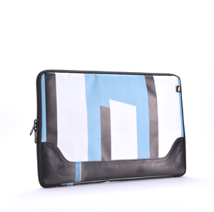 Safe and secure laptop sleeve made from upcycled billboard banners.
