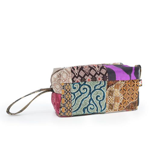 Batik Cosmetic Pouch made from upcycled fabrics