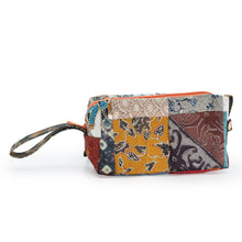 Load image into Gallery viewer, Batik Cosmetic Pouch made from upcycled fabrics