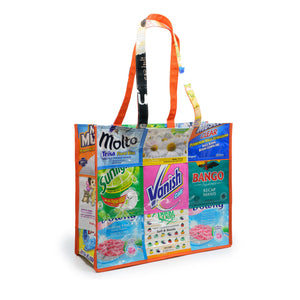 Simple shopping tote made from upcycled plastic refill pouches