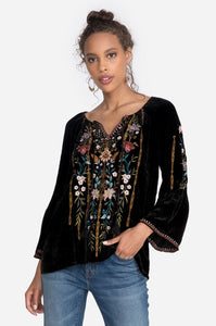Esther Velvet Flare Sleeve Peasant Blouse
