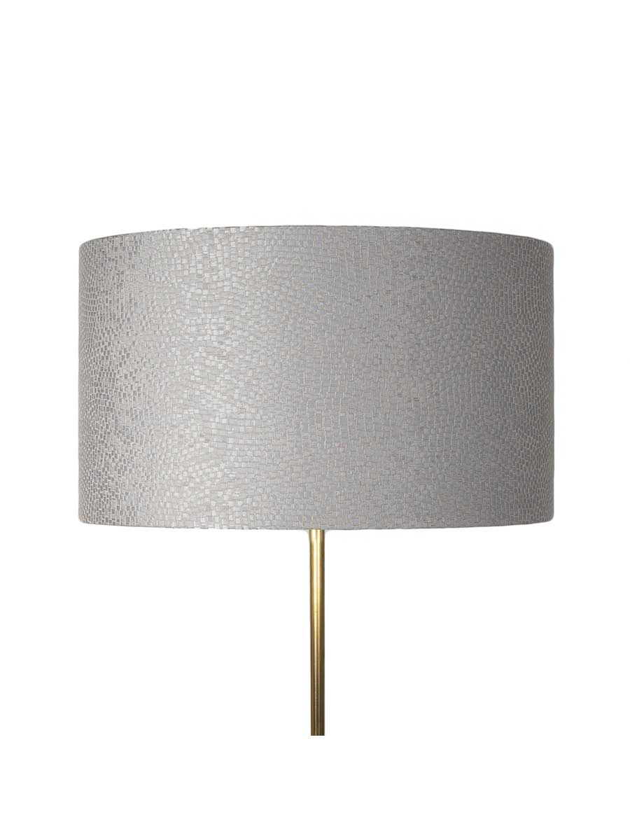 Dove Grey Tesserae Silk Drum Lampshade – 45cm/18
