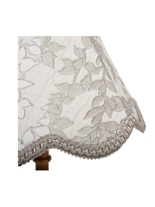 Grey Leaf Embroidered Chimney Bell Lampshade – 30cm/12""