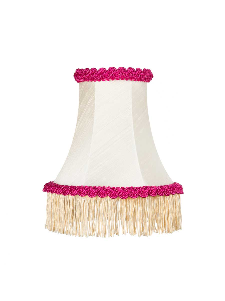 IVORY SILK FRINGED BOWED EMPIRE LAMPSHADE - 14cm/5""