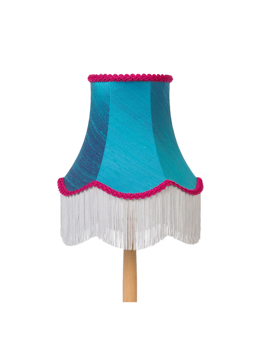 Viridian Blue Silk Fringed Bell Lampshade – 25cm/10""
