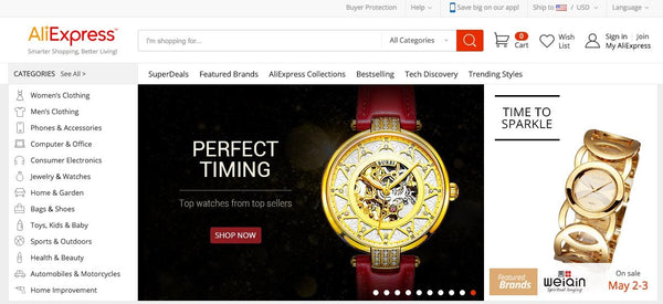AliExpress home page