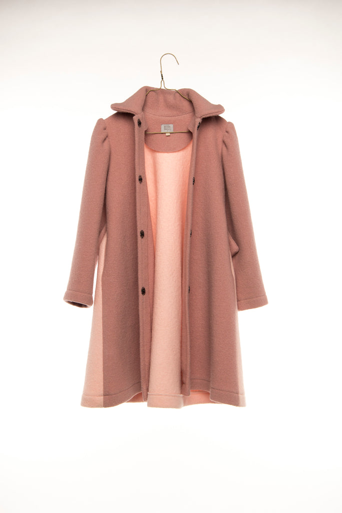 Hilda.Henri`s bicolored wool coat in oldrose and soft pink on hangar