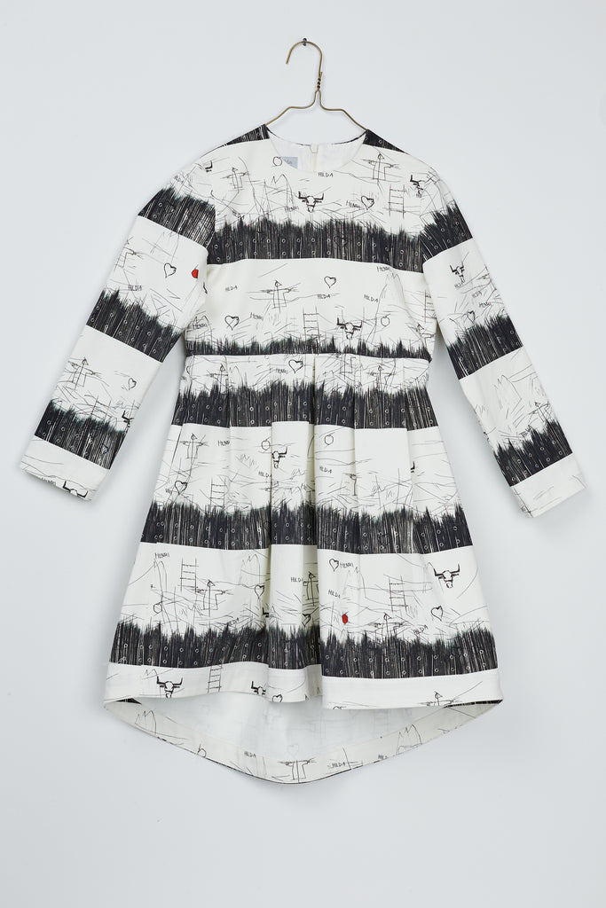 Pleats Dress by Hilda.Henri featuring artisticly striped black&white print