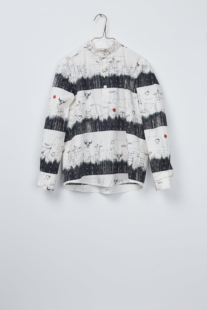 Black&white Hilda.Henri shirt for boys with artistic print on hangar