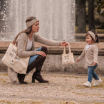 Lade das Bild in den Galerie-Viewer, SHOP ME Baumwoll Einkaufs-Shopping Bag Mini Me Mama Kind Partnerlook Set TAUPE LOVER Cardigan TAUPE LOVER Stirnband Winter For All We Love - Beloved By All