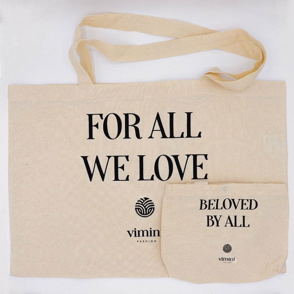 SHOP ME Baumwoll Einkaufs-Shopping Bag Mini Me Mama Kind Partnerlook Set For All We Love - Beloved By All