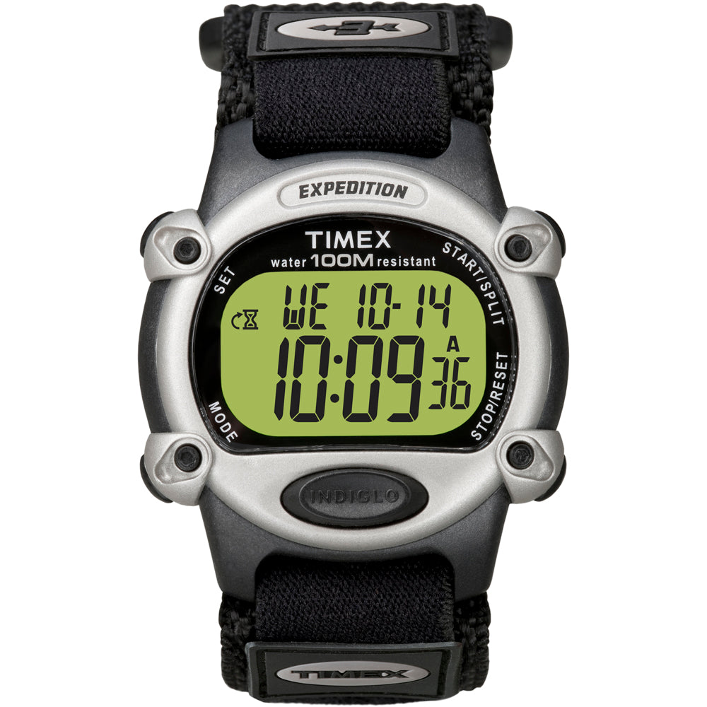Timex Expedition Mens Chrono Alarm Timer Silver Black