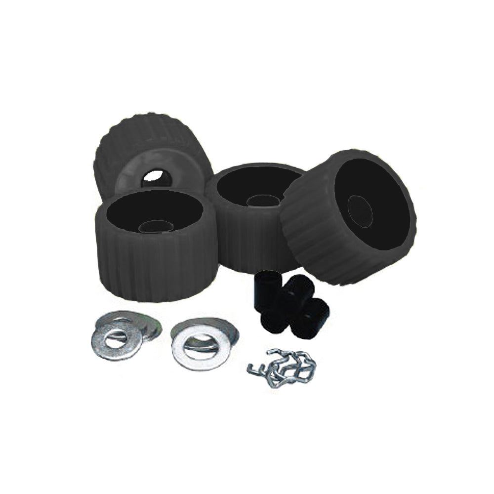 C.E. Smith Ribbed Roller Replacement Kit 4 Pack  Black 3/4 Inch Washers Four Retainer Rings