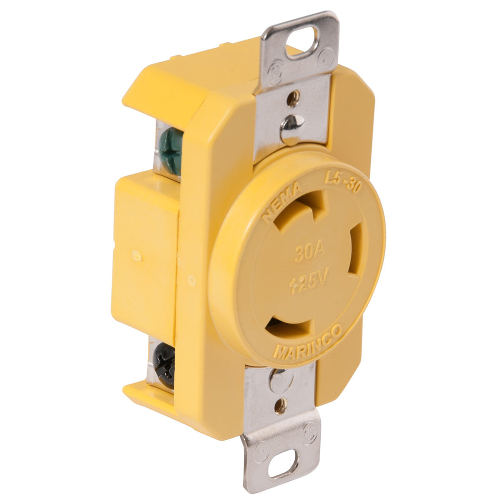 Marinco 305CRR 30A Receptacle Yellow 125V Dock Side Locking Reinforced Nylon