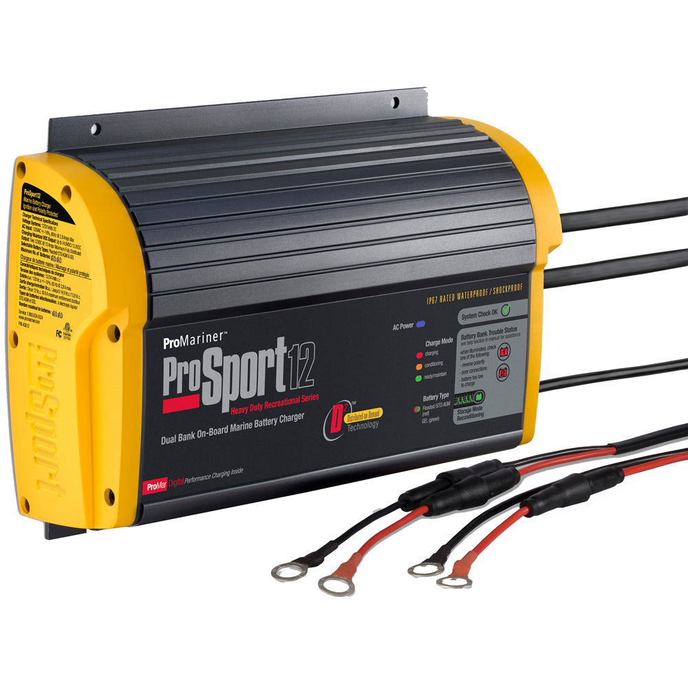 12 Amp ProMariner ProSport Heavy Duty On Board Marine Battery Charger Waterproof