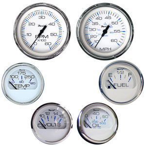 Faria Chesapeake White SS 6 Gauge Boxed Set Inboard Motor Fuel Level Speedometer