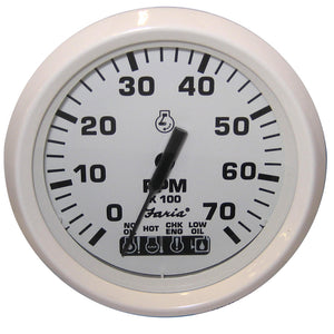 "Faria Dress White 4"" Tachometer  System Check Indicator Engine Overheat & Flat Lens"