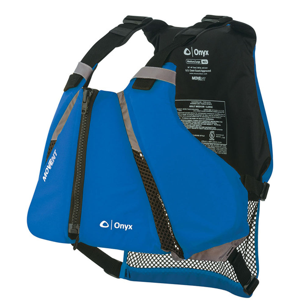 Onyx Move Vent Curve Paddle Sports Life Vest  Blue Lightweight Flotation Foam