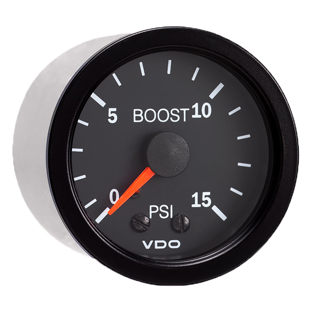 VDO Vision Black 15 PSI Mechanical Boost Gauge 12V Mounting Analog