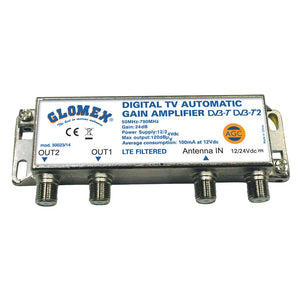 Glomex Auto Gain Control Amp 12-24VDC TV Outputs Automatically Control