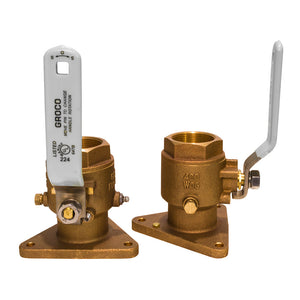 "GROCO 3-4"" Bronze Tri Flanged Ball Valve Seacock Full Flow"