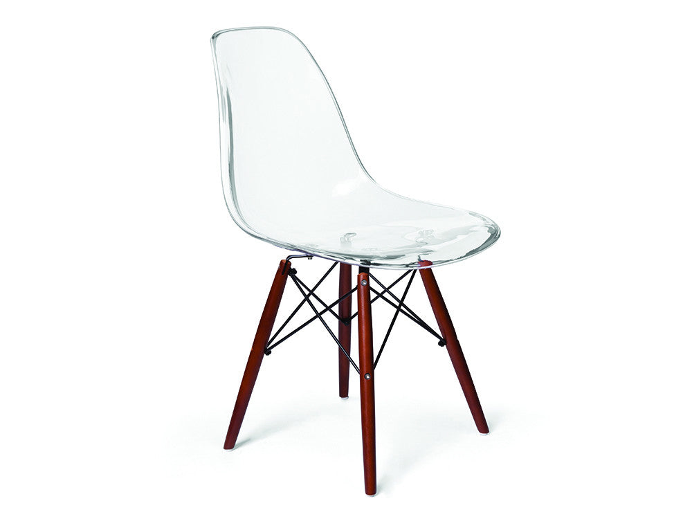 Eames Style Chair   Clear With Walnut Legs ...