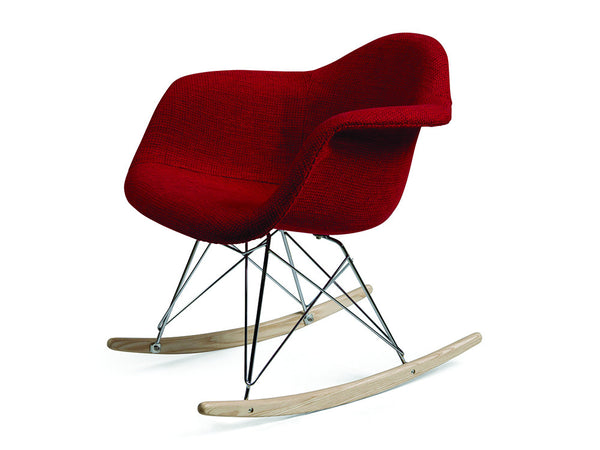 Eames style fabric rocking chair red meubles newell for Eames meubles