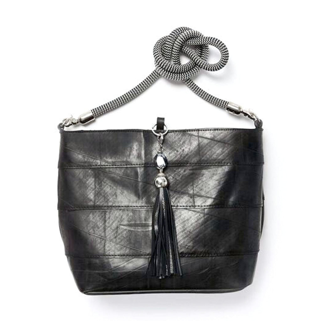 Up-cycled Rubber Shopper Bag with Tassel Key Ring