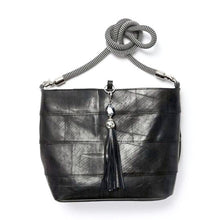 Load image into Gallery viewer, Up-cycled Rubber Shopper Bag with Tassel Key Ring