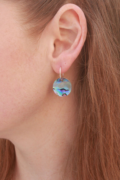 Vibrant Paua & White Mussel | Double-sided Round Earrings