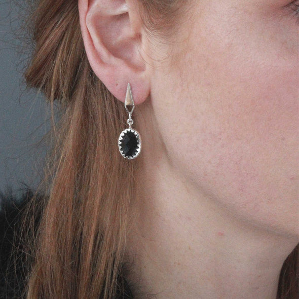 Black Onyx gemstone stud earrings
