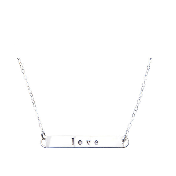 Sterling Silver Bar Necklace | love
