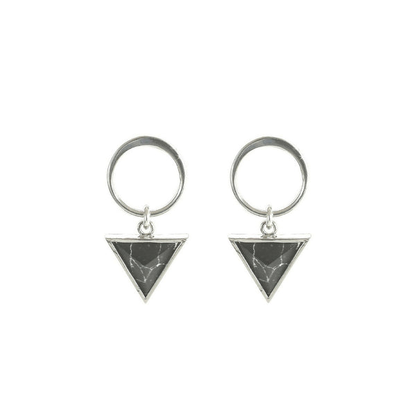 Venus Earrings | Circle Stud & Black Triangles