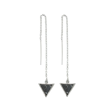 Sterling silver thread chain earrings with Black howlite stone triangle drops.