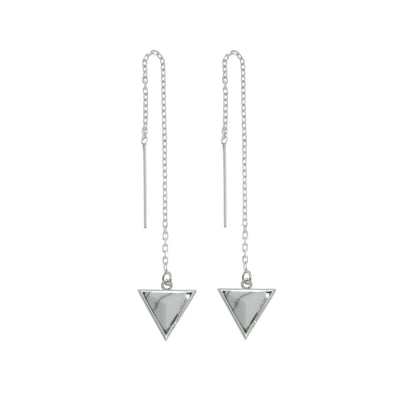 Sterling Silver thread earrings with White Howlite stone triangle drops.