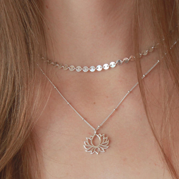 Sterling Silver Disk Chain Choker