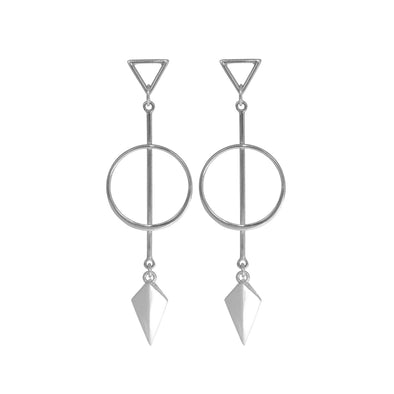 Sterling Silver Triangle  circle long stud earring