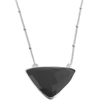 A triangle Black onyx faceted gemstone pendant hanging from Sterling silver chain.