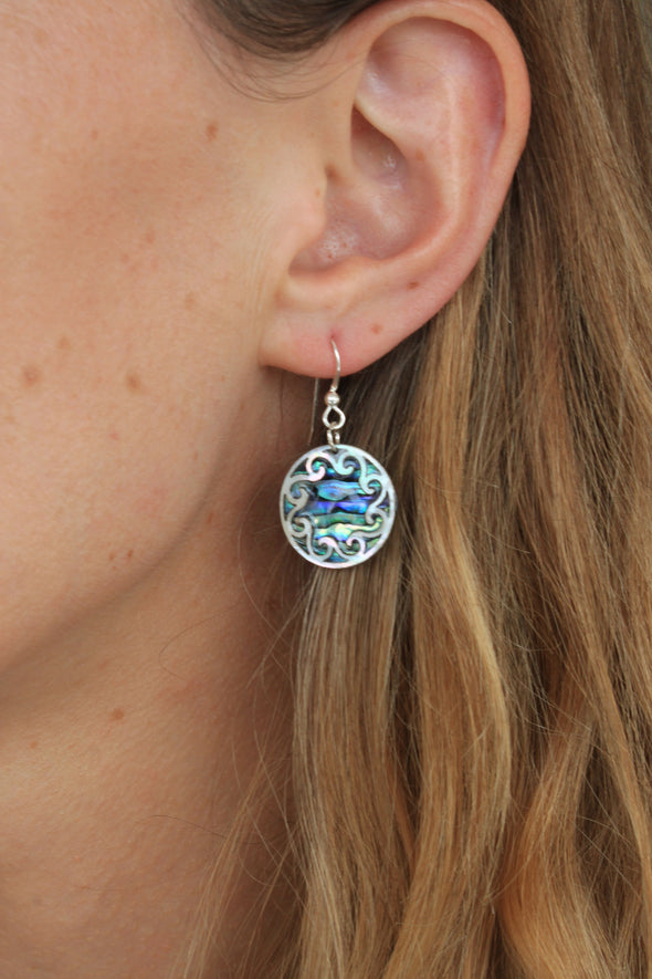 Vibrant Paua Earrings | Circle Koru