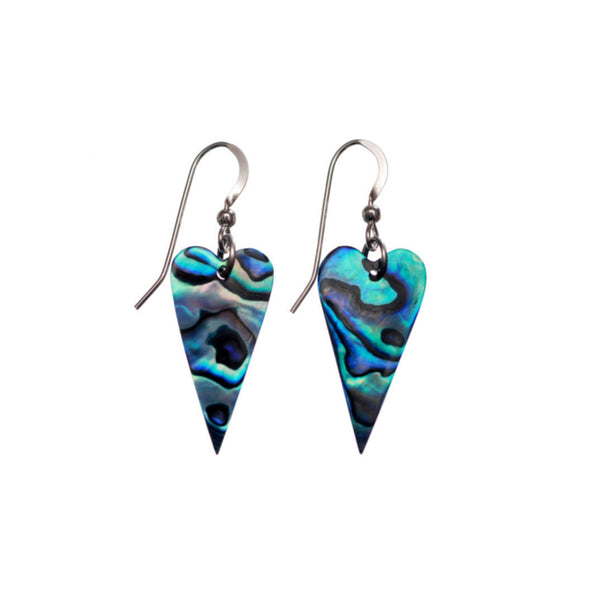 Vibrant Paua Earrings | Heart