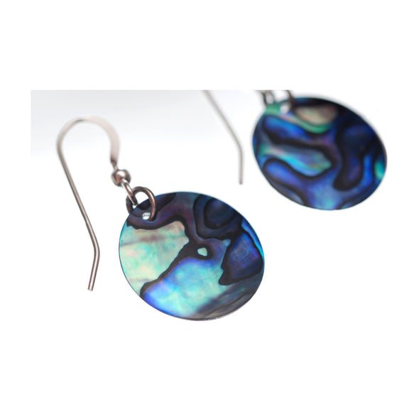 Vibrant Paua Earrings | Round