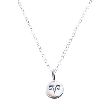 Sterling Silver Zodiac Aries star sign necklace.