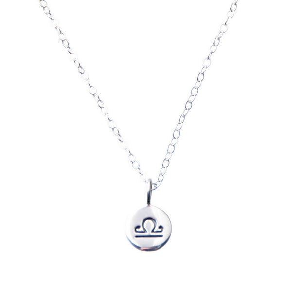 Sterling Silver Zodiac Libra star sign necklace.