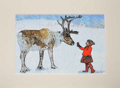Reindeer & Girl - Limited Edition Print