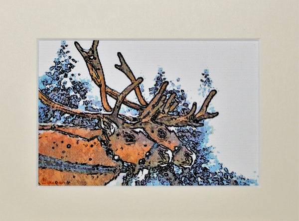 Two Reindeer In Snow - Original