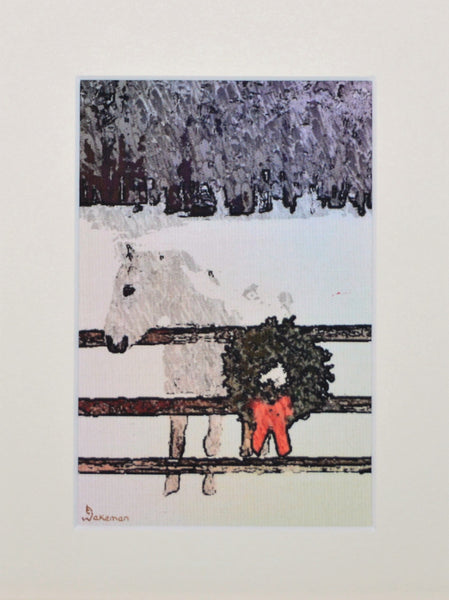 White Horse With Garland - Limited Edition Print