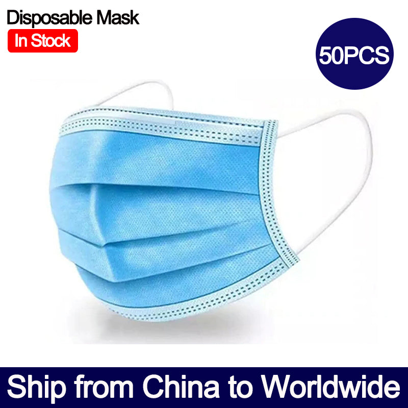 50PCS Disposable Face Mask 3ply Protective Mask Dust-proof Breathable Face Mask Earloop Mask