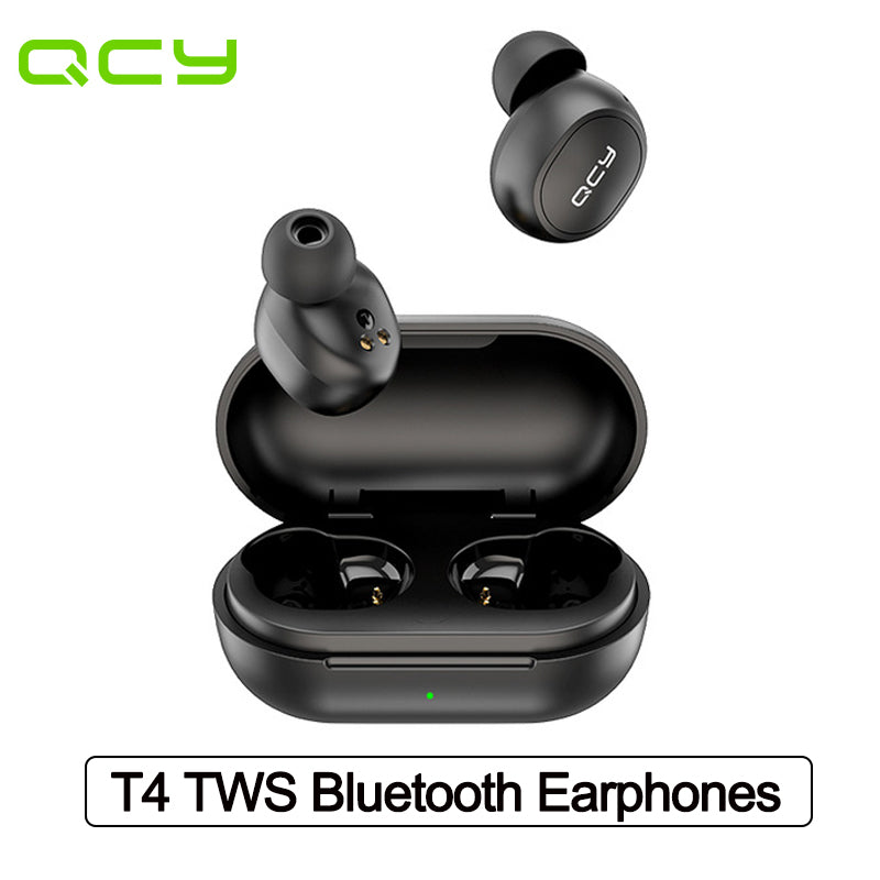 QCY T4 Wireless Earphones Bluetooth V5.0 IPX4 Waterproof 3D Stereo Earbuds in Ear Dual Microphone with APP customization