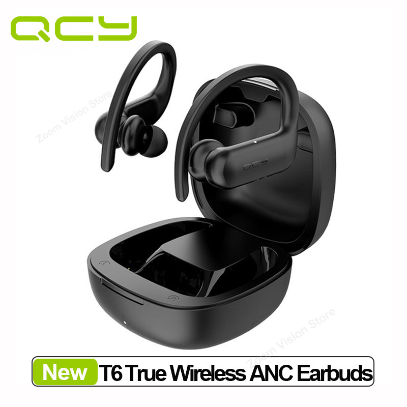 QCY T6 Wireless Sports Earphones Bluetooth 5.0 Hook-in-ear Stereo HiFi Sound Headset Smart Touch and APP Customization waterproof wifi earbuds